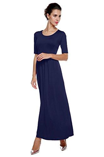 CRAVOG Damen Casual Elegant Maxikleid Partykleid Cocktailkleid Abendkleid Navy Blau