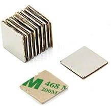 Magnetastico® | 20 piezas imanes autoadhesivos de neodimio N52 cuadrado 15x15x1 mm | Imanes fuertes adhesivos con cinta adhesiva de marca 3M | Imanes autoadhesivos N52 con película adhesiva, fuerza adhesiva extra