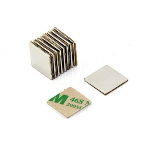 Magnetastico | 10 Stück Selbstklebende Neodym Magnete N52 Quadrat 20x20x1 mm | Starke Klebemagnete mit 3M Marken-Klebeband | N52 Magnete mit Klebefolie Selbstklebend Extra Hohe Haftkraft