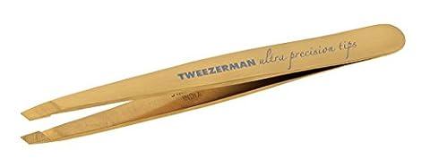 Tweezerman Studio Collection Ultra Precission abgeschrägte Pinzette aus rostfreiem Edelstahl mit TNT-Gold Beschichtung für extreme Haltbarkeit