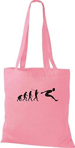 ShirtInStyle Stoffbeutel Jute Evolution Weitsprung diverse Farbe rosa