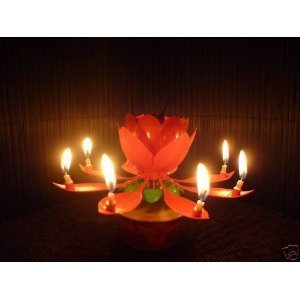 Moonmini Spinning Musical Birthday Gift Candle Flower Party Sparkler Cake Topper Rotating