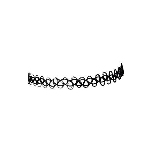 Ba Zha Hei Elastizität Angelschnur Tattoos Halskette Tattoo Choker Stretch Necklace Black Retro Henna Vintage Elastic Wunderbares Geschenk für Sie und Ihre Freundinnen (Schwarz)