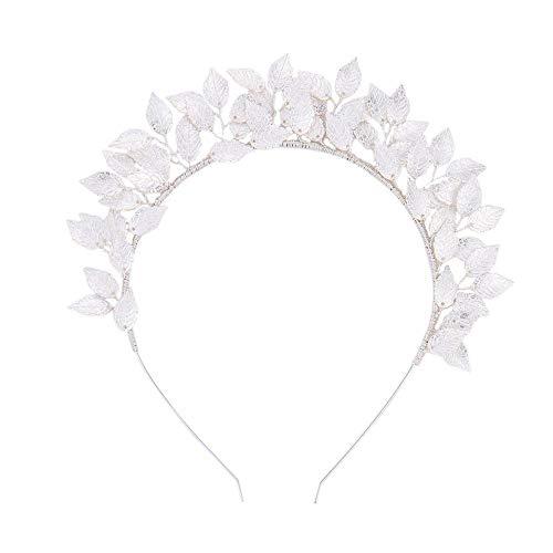Braut Tiara Hochzeit handgemacht Blume Stirnband Blatt Blätter Lorbeer Griechisch Römisch Kostüm Band Krone Haar GreatestPAK,Silber