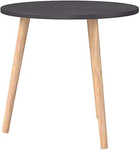 CLP Table d'Appoint Kolding I Table Basse Plateau Ronde en MDF Hauteur de la Table 56 cm I 3 Pieds en Bois de Caoutchouc I Couleur: Noir, 40 cm