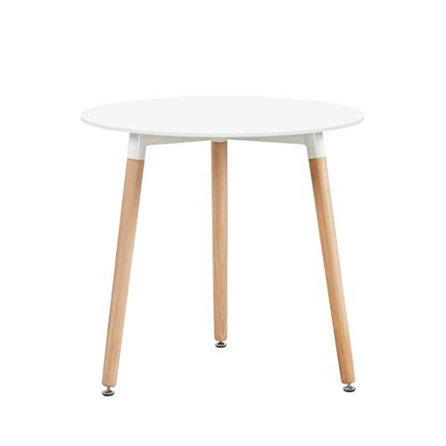 H.J WeDoo Runder Esstisch Weiss Küchentisch, Holz, 80 * 80 * 72 cm, Beine Natur, Gummi Untersetzer, Weiß