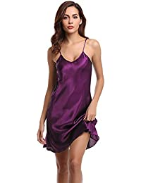 96224b63b9 Aibrou Women Satin Negligee Babydoll Lingerie Night Dress Lingerie  Nightdress Sleepwear Underwear Short Strap Dress V