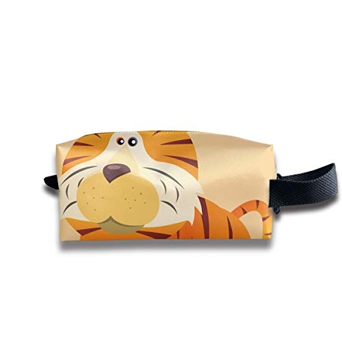 Cartoon Tiger Women Cosmetic Bag Travel Girls Oxford Toiletry Bags Cool Portable Hanging Organizer Makeup Pouch Pencil Case (Tiger Lady Halloween-make-up)