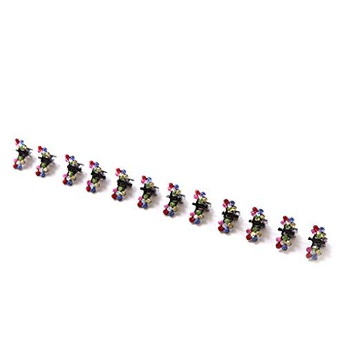Bobury 12 PCS Filles Petites Fleurs En Cristal En Métal Cheveux Griffes Enfants Mini Strass Pince À Cheveux Enfants Cheveux Oranment Clips Bébé Épingles à Cheveux