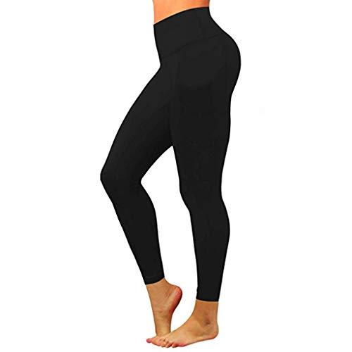 Cooljun Yoga-Hose mit hoher Taille, Taschen-Yoga-Hosen Bauchkontrolle Workout Stretch Yoga Leggings Frauen Fitness Yoga Hosen Nude versteckte Taschen-Yoga-Hosen