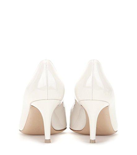 EDEFS - Escarpins Femme - 6 cm Kitten-Heel Chaussures - Bout Pointu Fermé - Classique Bureau Soiree Shoes Blanc