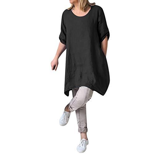 s Boho Kleid, O-Ausschnitt, Baumwolle und Leinen, Vintage Lose Tunika Strandkleid ()