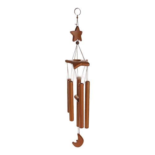 JHEY Draußen Bambus Handmade Kreative Sterne Mond Windspiele Hängen Schön Personalisierte Anhänger Dekoration Student Geschenke Bambus (Color : Brown, Größe : 10 * 67cm)