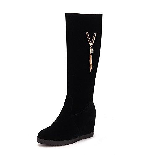 VogueZone009 Damen Blend-Materialien Rund Zehe Stiefel Schwarz-Artifizieller Diamant