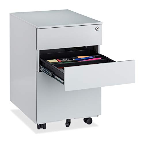 Relaxdays Büro Rollcontainer, 3 Schubladen, abschließbar, Stiftablage, 360° drehbare Rollen, Stahl, HBT 60x39x52cm, grau