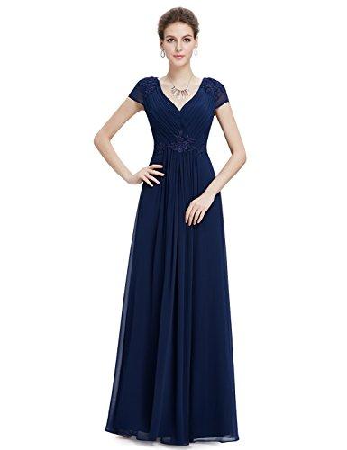 Ever Pretty Robe de soir¨¦e longue en double V-col en ruche 08467 Bleu Marine