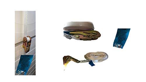 Sicherungs-Zurrgurt mit Ratsche für Wäschetrockner, 6 m (Trockner-Spanngurt, hohe Zurrkraft 800 daN, Ratschengurt, Verzurrgurt) weiß