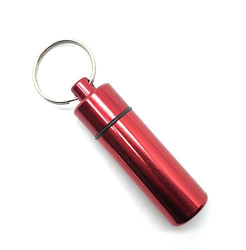 Aribari Schlüsselanhänger Pillendose I Hochwertige Tablettenbox I Wasserdichte Kapsel für unterwegs (Rot)