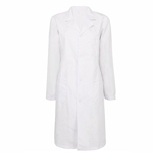 iiniim Damen/Herren Arztkittel Labormantel Laborkittel Unisex Medizin Kittel weiß Berufsbekleidung Baumwolle S-XXL Damen Weiß L