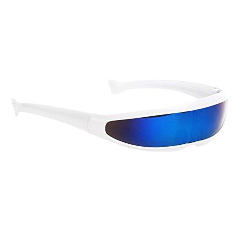MagiDeal Futuristische Schmale Cyclops Farbe Verspiegelte Linse Visor Sonnenbrille - Weiß Blau