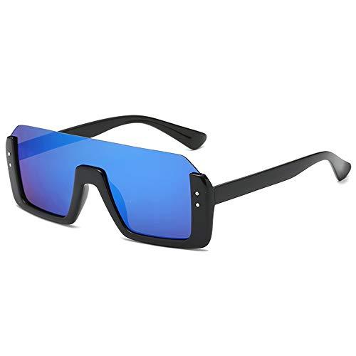 QDE Sonnenbrillen Platz Sonnenbrillen Männer Übergroßen Gradienten Objektiv Sonnenbrille Frauen Halbbild Brillen Für Weibliche Uv400, Blau