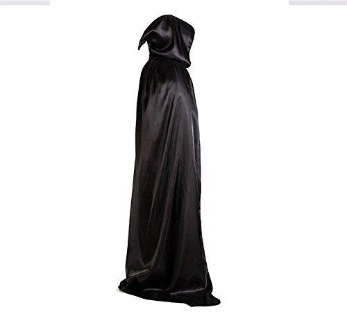 halloween kostüm damen herren Umhang Satin Karneval Fasching Kostüm Cape mit Kapuze (L)
