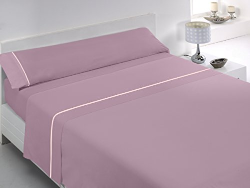 Glam Tábata - Juego de sábanas de algodón percal de 200 Hilos para Cama de 135 cm, Color Rosa Palo