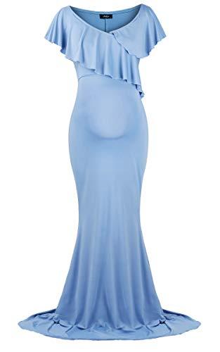 Molliya Umstandskleid Schwangere Elegante Fotografie Stützen Rüsche Aus Mutterschaft Hochzeit Maxi Kleid,Hellblau - 5