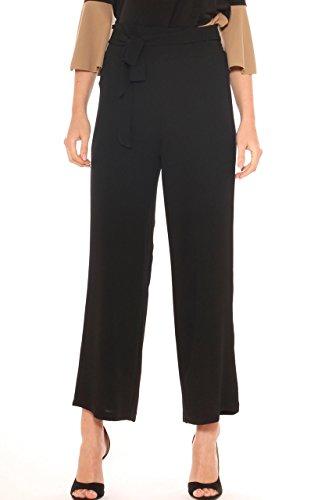 Pantalone a palazzo donna in georgette crepe stretch vita alta Nero
