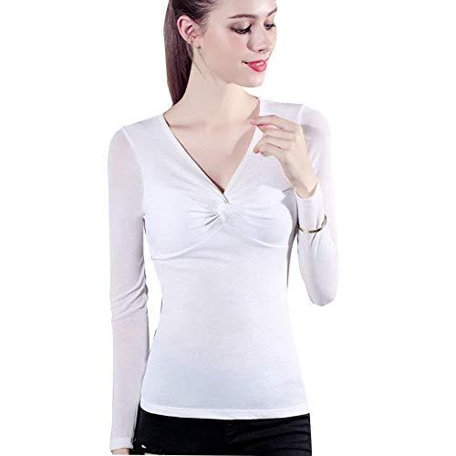 Netto-mädchen T-shirt (Damen Mode Slim Fit Spitzen Langarmshirts Longsleeve Mädchen Netto Langarm Garn Slim Fit Hemd Shirt Mit V Ausschnitt (Color : Weiß, Size : L))