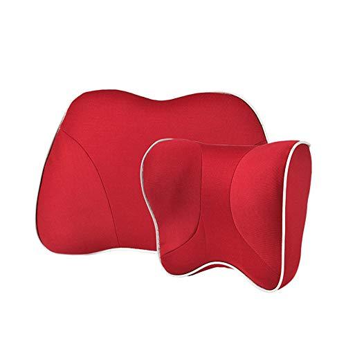 ERXIXI Neck Waist Support Pad Reisekomfort Auto Taille Nackenkissen Kit Stützkissen und Kopfstütze Sitz Space Memory Cotton Design Geeignet für Car Office Seat Red Set - Office Space Kit