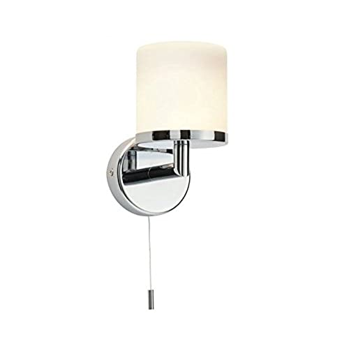 Wall light with pull cord amazon saxby lipco 28w chrome plated matt opal duplex glass ip44 bathroom wall light mozeypictures Choice Image
