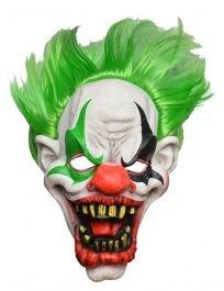 (Crazy Chick Clown-Maske für den ganzen Kopf, Gruseliges Haar, Halloween, Kostüm-Zubehör)