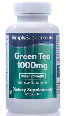 Thé Vert 1000mg | 120 Gélules | Ingrédients d'extrait standardisés de première qualité | Gélules EasyGest exclusives, faciles à avaler | Adapté aux Végétariens | Fabriqué au Royaume-Uni
