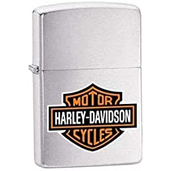 Harley Davidson Logo, Brushed Chrome Engraved Zippo , a great Personalised Gift, for Birthday Gifts, for Christmas Gifts, for Fathers Day Gifts and for Anniversary Gifts