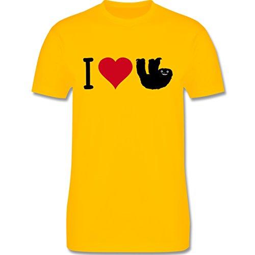 Tiermotive - I love Faultiere - L190 - Premium Männer Herren T-Shirt mit Rundhalsausschnitt Gelb