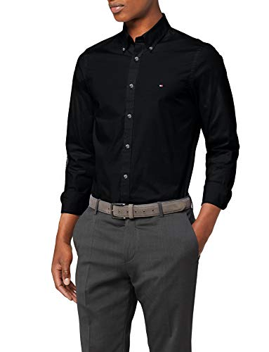 Tommy hilfiger core stretch slim poplin shirt camicia sportiva, nero (flag black 083), medium uomo