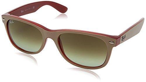RAYBAN JUNIOR Unisex-Erwachsene Sonnenbrille New Wayfarer, Matte Beige On Opal Red/Green Gradient Brown, 55