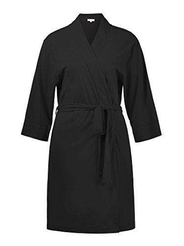 Alicepub Femme Coton Peignoir court nuisette confortable Col en V robe de chambre Pyjama Noir