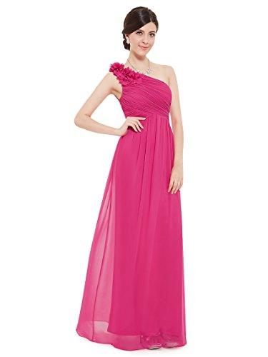Ever Pretty Damen One Shoulder Blumen Lang Chiffonkleid Abendkleider 48 Größe Hellrosa