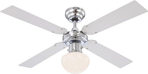 Beleuchtung Leise Zugschalter Deckenleuchte mit Ventilator (3 Stufen, Deckenlampe, 105 cm, Rechts Links Lauf, Weiß Silber) ()