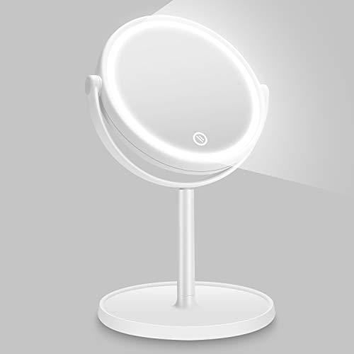 Kasimir Kosmetikspiegel mit Licht Schminkspiegel mit LED Beleuchtung Make Up led Reise Spiegel Batterie Via Touch-Screen Und 360°Rotierbarer - Weiß (Home Setzen)