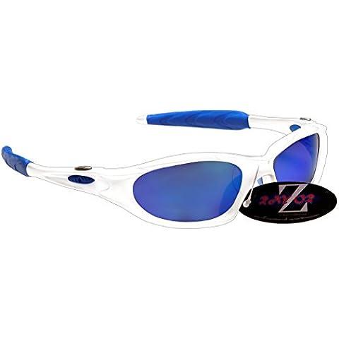 RayZor Pro Liteweight UV400 Silver Sports Wrap Running Sunglasses, Blue Mirro...
