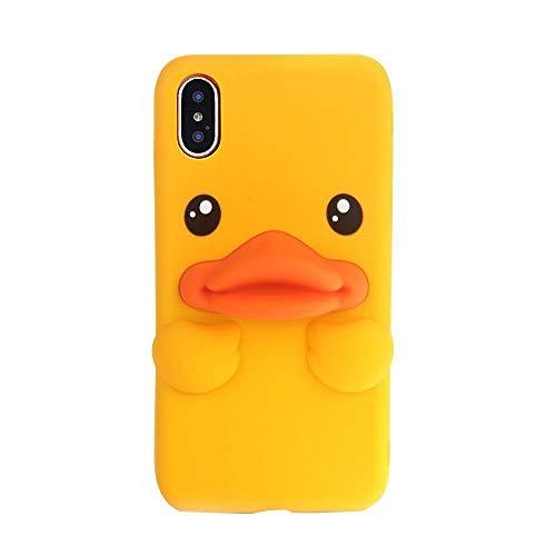 Hunpta@ Handy Hülle für iPhone X Kleine gelbe Ente Silica Gel Soft Cover Hülle (A)