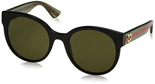 Gucci Damen GG0035S 002 Sonnenbrille, Schwarz (Black/Green), 54