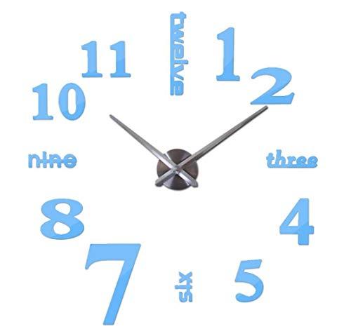 uhren Mode Uhren 3D Real Big Wanduhr Rushed Mirror Sticker DIY Wohnzimmer Dekor, Sky Blue, 47 Zoll ()