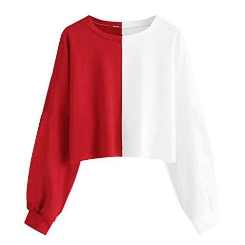 Sweatshirts FüR Damen, Subfamily Kapuzenpullover Frauen Kurz Bauchfrei Mode Womens Einfarbig Langarm Loch Sexy T-Shirt Pullover Bluse Sweatshirt Kapuzenpulli Langarmshirts Tops (XXL, Rot 7791) -