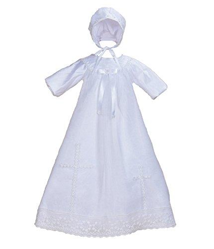 Taufe Motorhaube (Cinda Baby Langarm Satin Taufe Kleid und Lange Motorhaube Weiß 68-74)