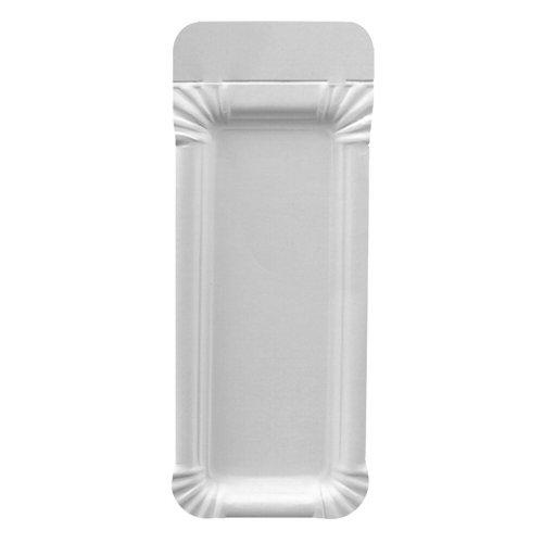 Papstar Pappteller / Einwegteller eckig, weiß, mit Anfasser, pure (250 Stück), 8 x 21 cm, aus Pappe, für Grillfest, Geburtstag oder Party, Einweggeschirr biologisch abbaubar, #11030