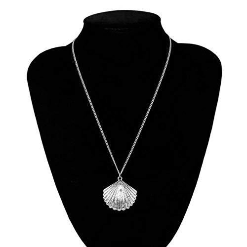 DAYUFEI Alloy Shell Jakobsmuschel dünnen Hals Kragen Kragen Aussage weiblichen Schmuck Gold Lange Kette Anhänger Halskette